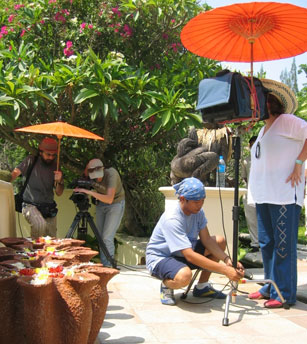 Mouna Mounayer and crew filming the Four Seasons Hotel Chiang Mai, Thailand